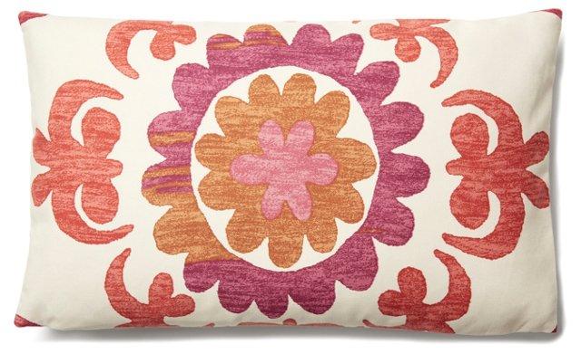 Suzani Garden 12x20 Cotton Pillow, Coral