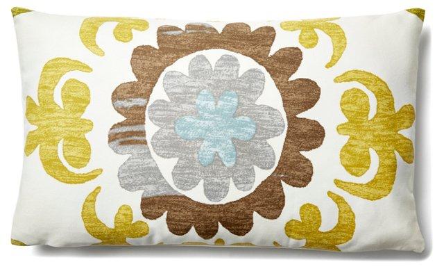 Suzani Garden 12x20 Cotton Pillow, Green