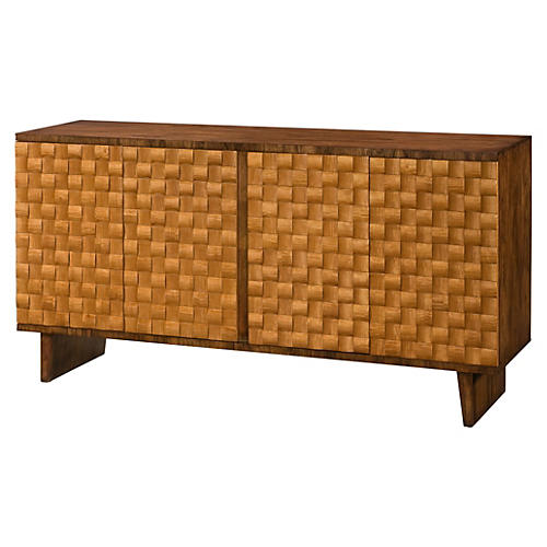 "Checkerboard 66"" Sideboard, Russet/Honey"