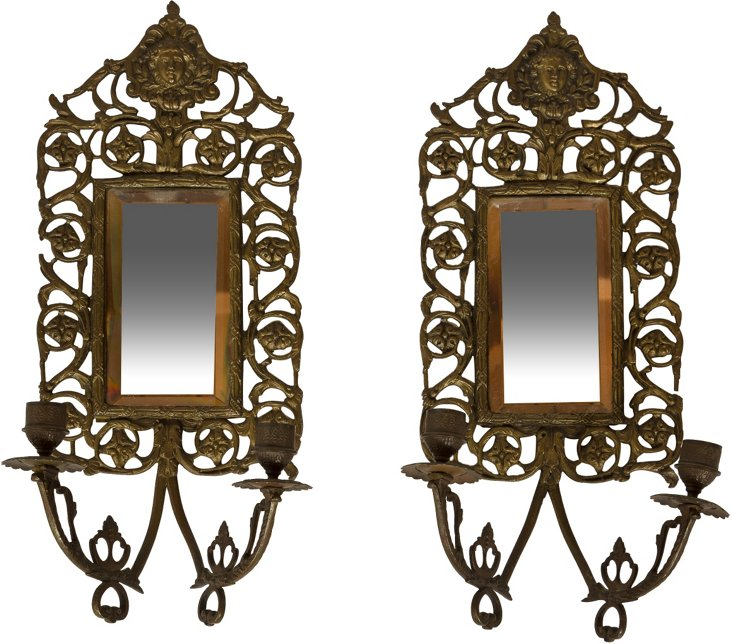 19th-C. Mirrored Candle Sconces, Pair