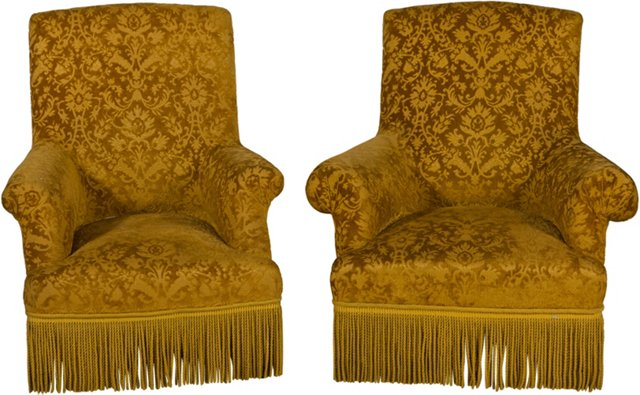 Early 20th-C. Velvet Armchairs, Set of 2