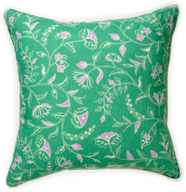 Double-Sided Greta Pillow, Green & Purple