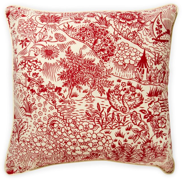 2-Sided Toile Pillow, Red