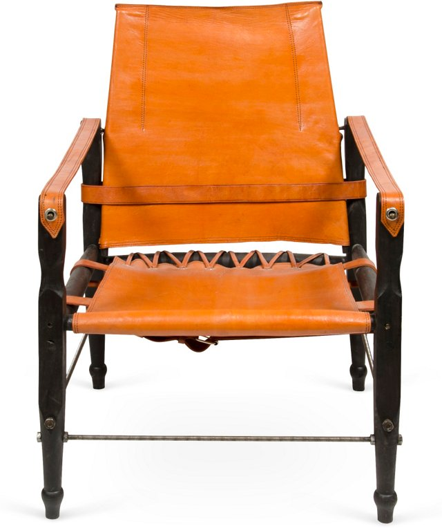 Leather Campaign Chair, Orange