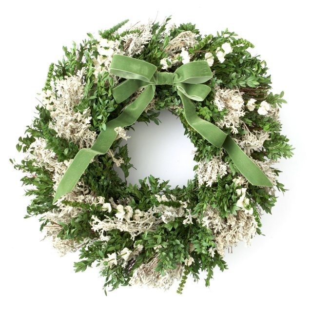 "26"" Boxwood & Larkspur Wreath, Preserved"