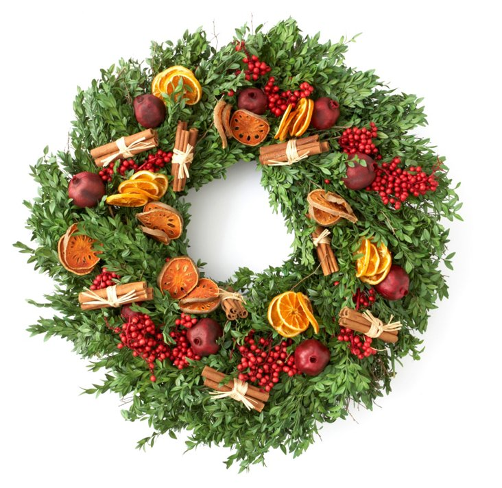 "26"" Fruit & Spice Boxwood Wreath, Dried"