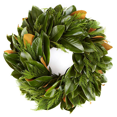 "28"" Fresh Magnolia & Cypress Wreath"