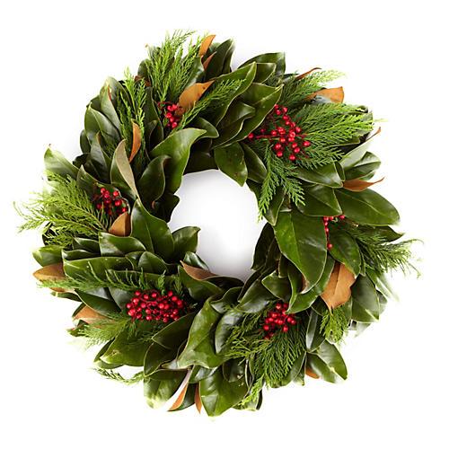 """28"""" Fresh Magnolia & Cypress Wreath"""