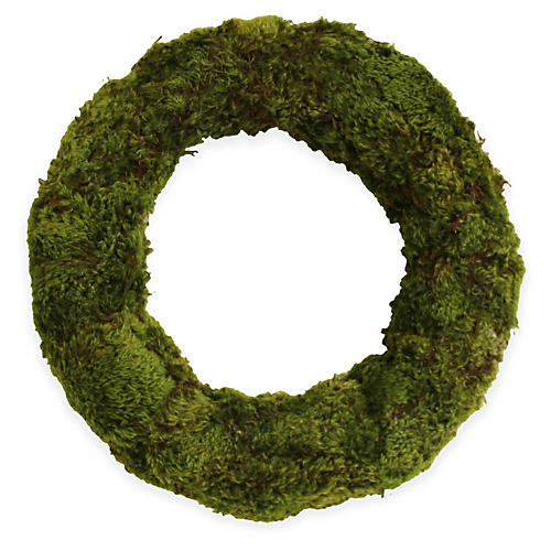 "18"" Mood Moss Wreath, Dried"