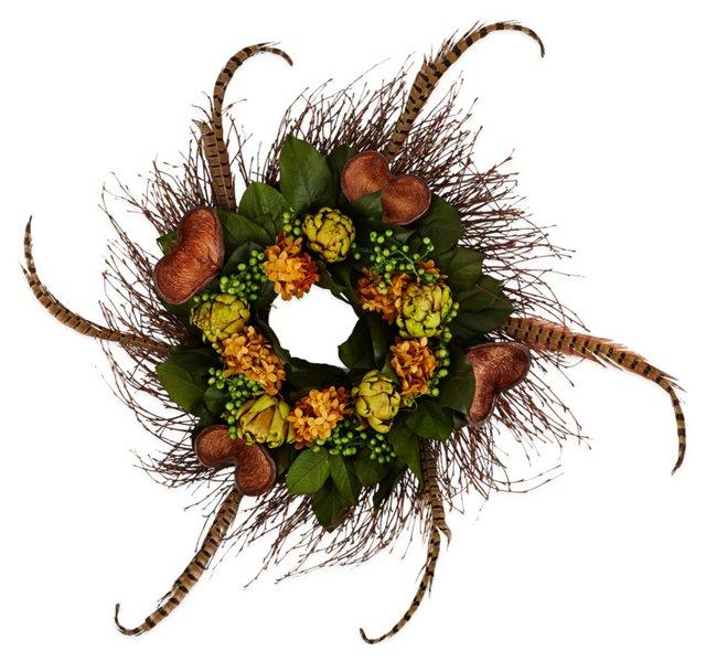 """24"""" Feather Artichoke Wreath, Dried"""