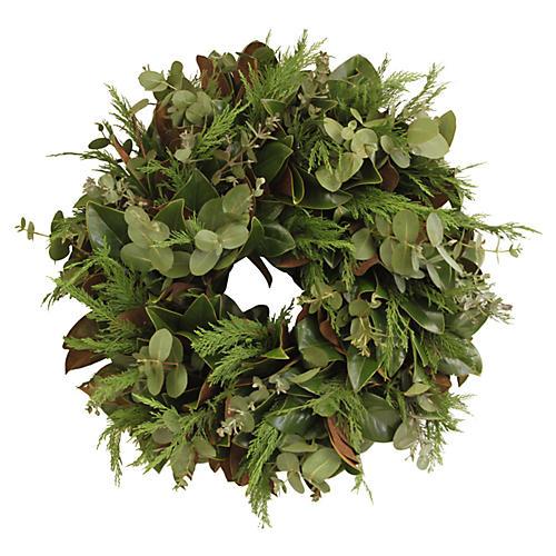 "26"" Magnolia & Eucalyptus Wreath, Live"