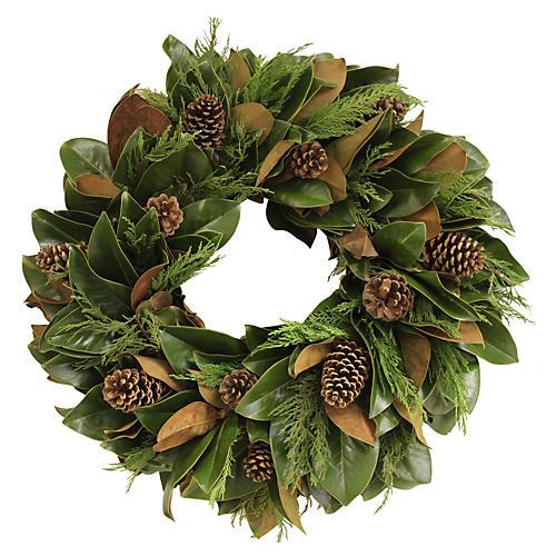 """26"""" Fresh Magnolia & Cyprus Wreath"""