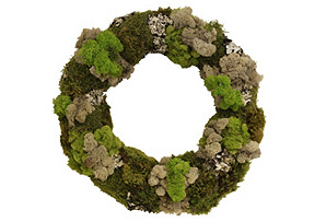 "20"" Mixed Moss Wreath, Dried"