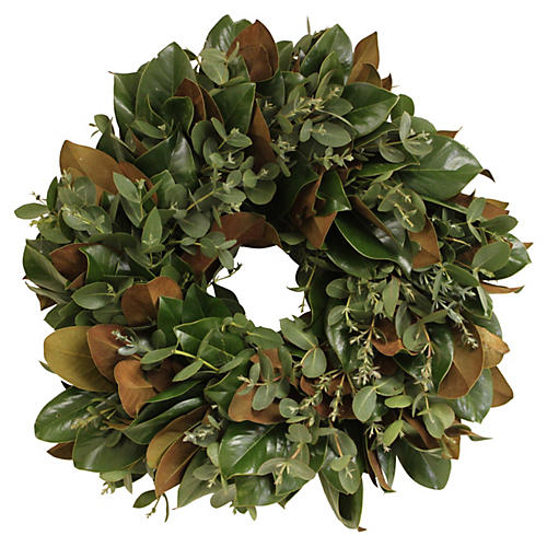 "24"" Magnolia & Eucalyptus Wreath, Live"