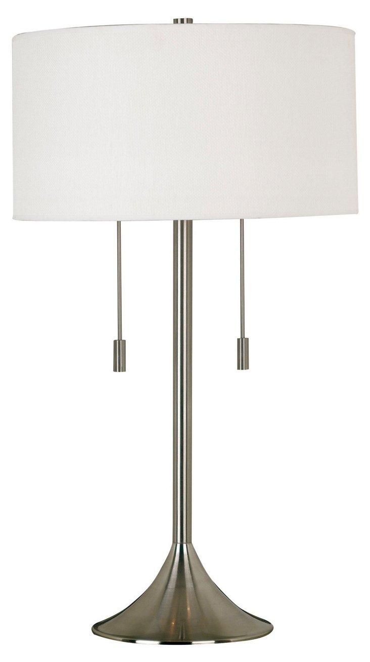 Milton Table Lamp, Brushed Steel