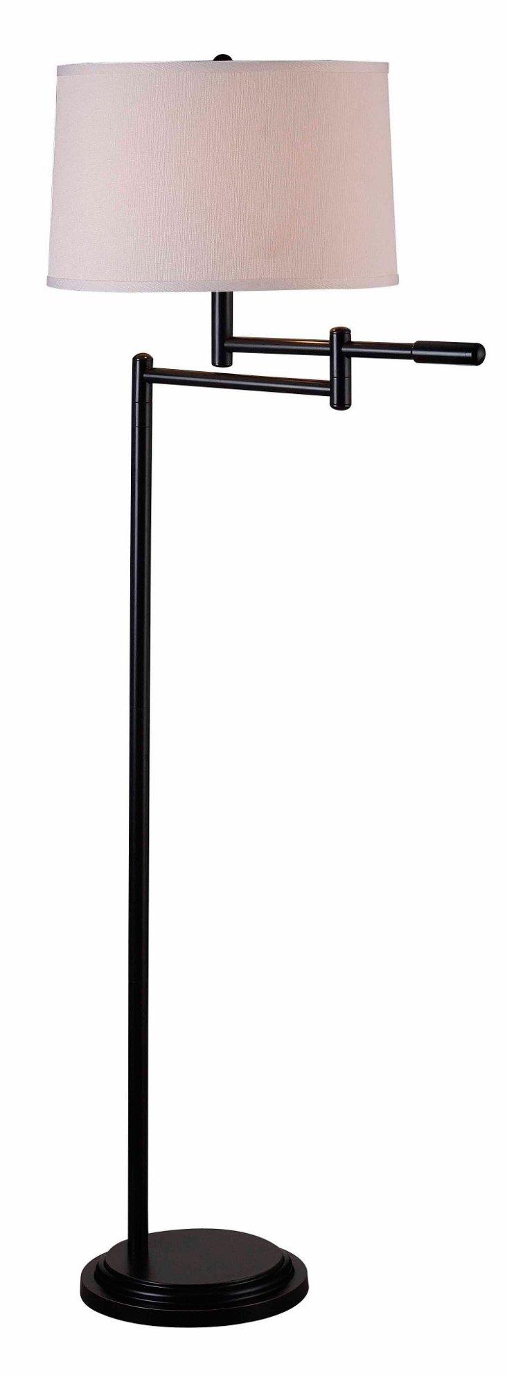 Clayton Swing-Arm Floor Lamp, Bronze