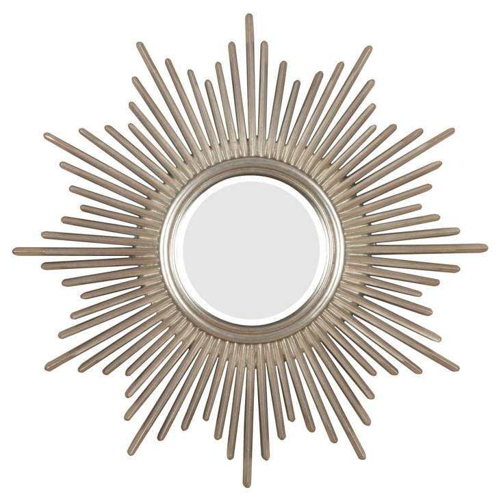 Cloten Wall Mirror, Antiqued Silver