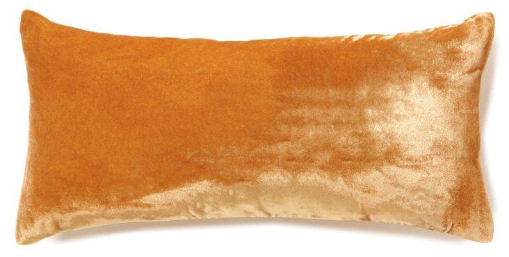 Velvet 8x16 Silk-Blend Pillow, Gold