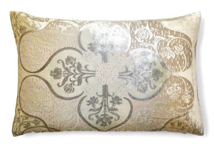 Persian 12x18 Velvet Pillow, Cream