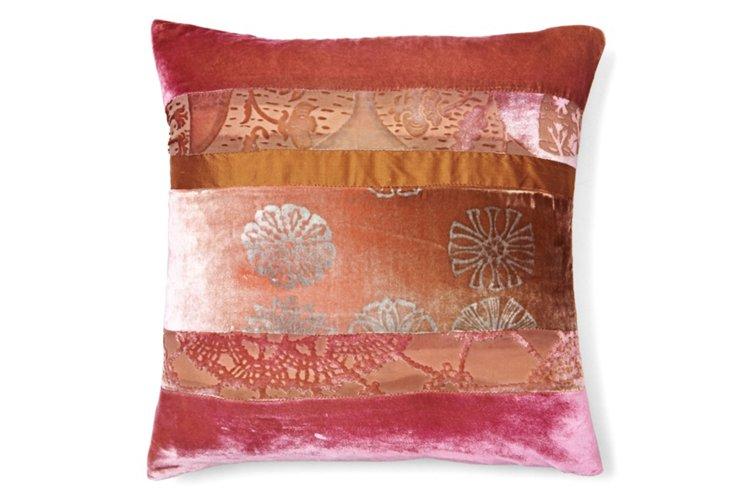 Patchwork 16x16 Pillow, Pink/Beige