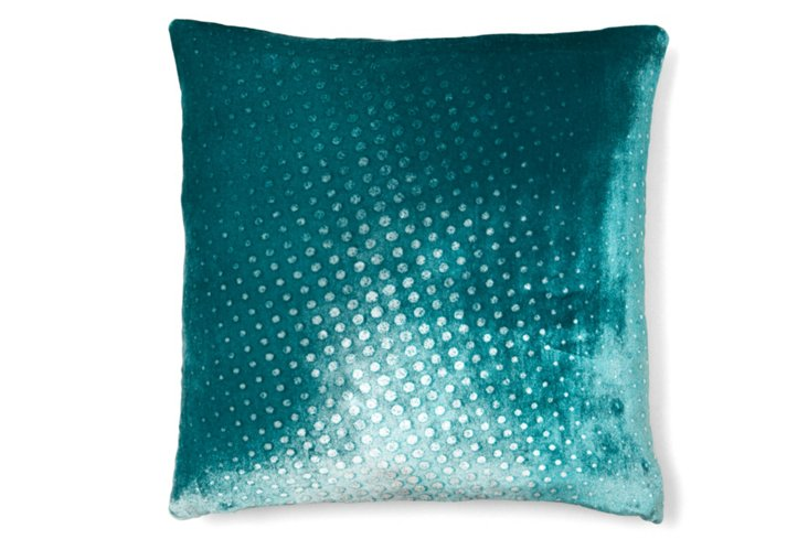 Polka Dot 16x16 Pillow, Teal