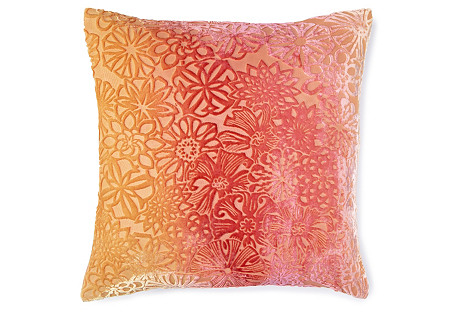 Kaleidoscope 16x16 Velvet Pillow, Pink