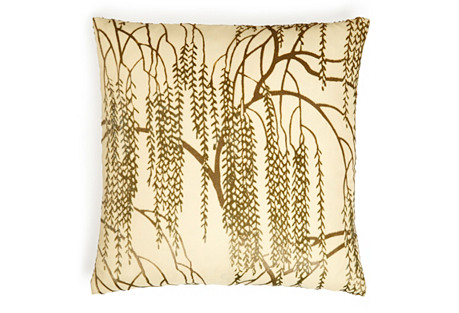 Willow 16x16 Silk-Blend Pillow, Yellow