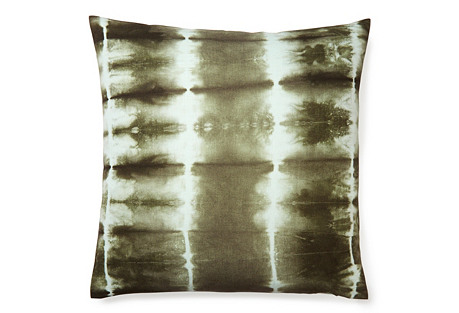 Shibori 18x18 Pillow, Green
