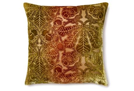 Botanic 16x16 Velvet Pillow, Green/Red