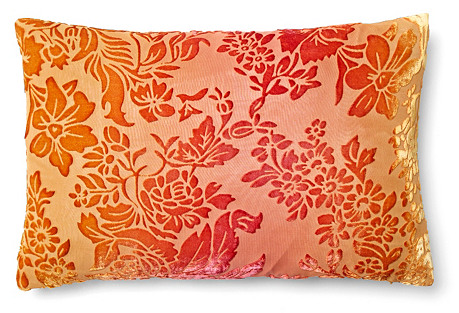 Floral 12x18 Velvet Pillow, Coral/Gold