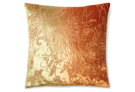Branches 16x16 Velvet Pillow, Red/Gold