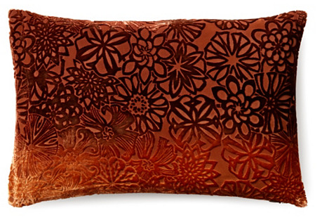 Floral 12x18 Velvet Pillow, Golden Brown