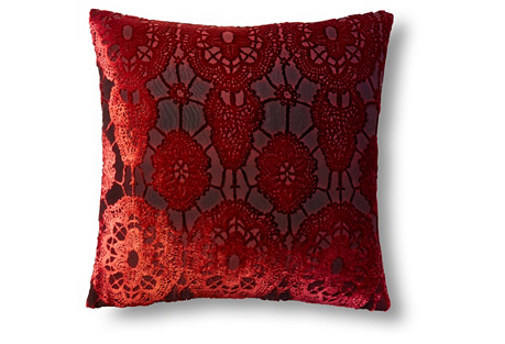 Lace 16x16 Velvet Pillow, Wildberry