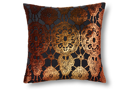 Lace 16x16 Velvet Pillow, Copper Ivy