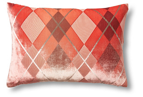 Argyle 14x20 Velvet Pillow, Coral