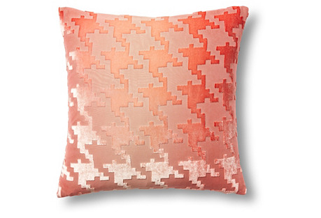 Houndstooth 16x16 Velvet Pillow, Coral
