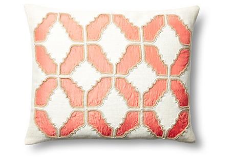 Baroque 16x20 Cotton Pillow, Coral
