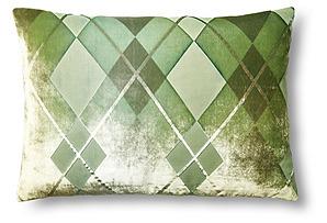 Argyle 14x20 Velvet Pillow, Grass*