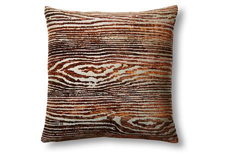 Woodgrain 16x16 Pillow, Gray/Rust