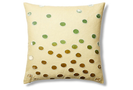Ovals Linen 22x22 Pillow, Yellow