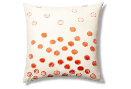 Ovals Linen 22x22 Pillow, Coral