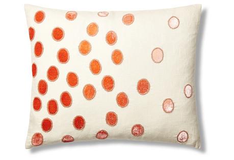 Ovals Linen 16x20 Pillow, Coral