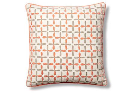 Petal Flower 22x22 Pillow, Coral