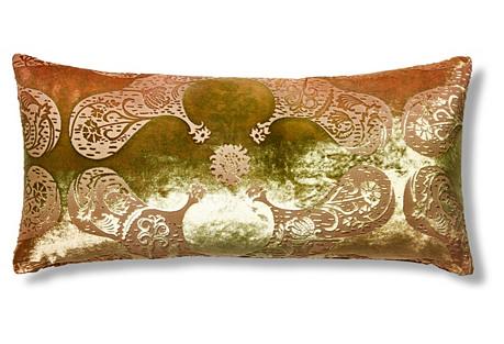 Persian Velvet 12x24 Pillow, Burnt Sage