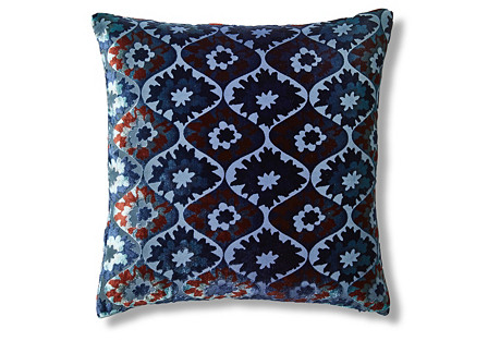 Puff Flower 18x18 Pillow, Navy