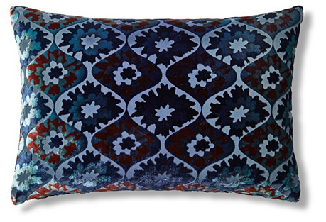 Puff Flower 14x20 Pillow, Navy