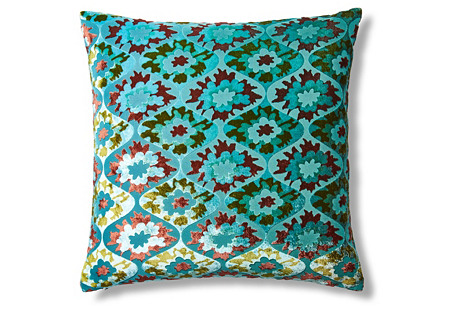 Puff Flower 18x18 Pillow, Aqua