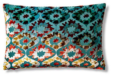 Puff Flower 12x18 Pillow, Aqua