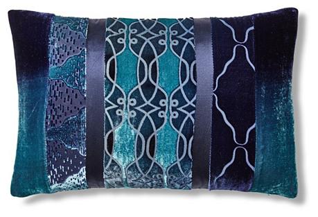 Patchwork 12x18 Pillow, Blue