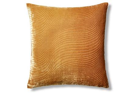 Slinky 16x16 Velvet Pillow, Marigold